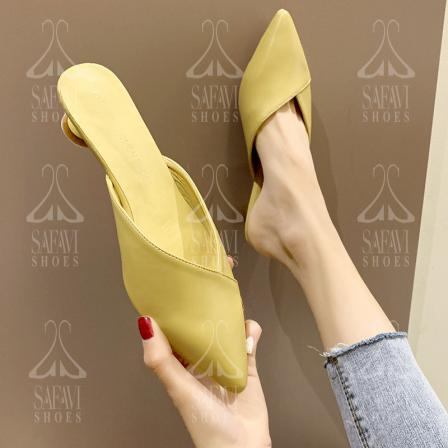 Affordable Leather Yellow Flat Sandals on Sale