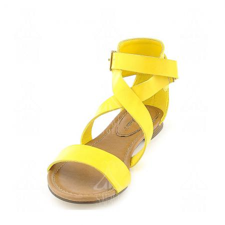 New models of leather yellow flat sandals
