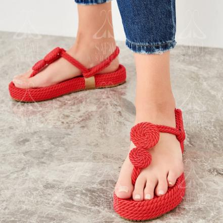 Branded Spring Red Strappy Flat Sandals for Sale