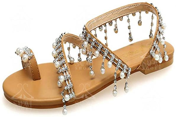 Jeweled Flat Strappy Sandals on Sale