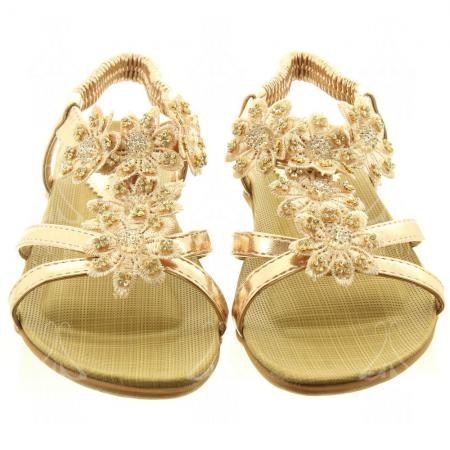 Buy 6 Gold Flat Sandals at Factory Price